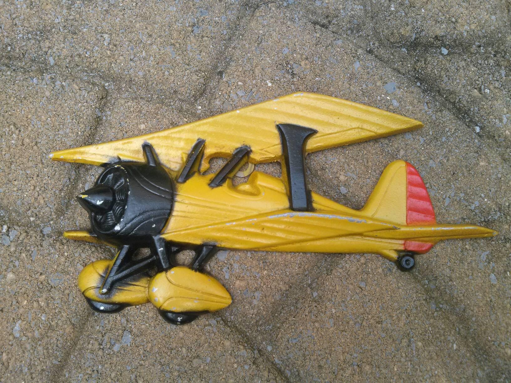 Vintage Cast Metal Air plane and Race Car Plaques, Homca, USA made ...
