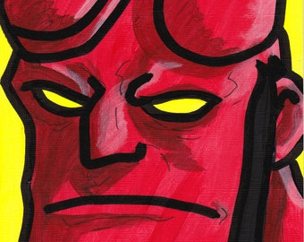 "Hellboy painting acrylic 9"" x 6"""