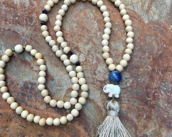 long beaded tassel necklace 108 mala blue lapis lazuli  good luck elephant cotton tassel charm bohemian necklace Czech glass