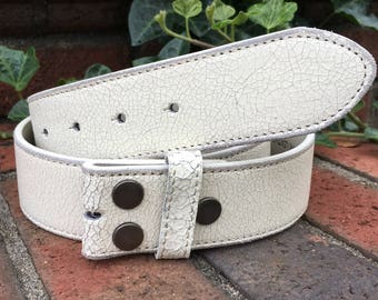 White Distressed Leather Belt strap belt with snaps snap belt size small 32 inch medium 34 inch leather belt women's belt mens belt 1.5 inch