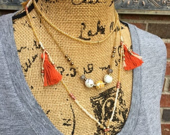 long beaded tassel necklace seed bead necklace tassels bohemian chic junk gypsies boho yoga modern long beaded necklace caribbean orange