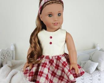18 inch doll plaid dress & headband | red, ivory skater dress