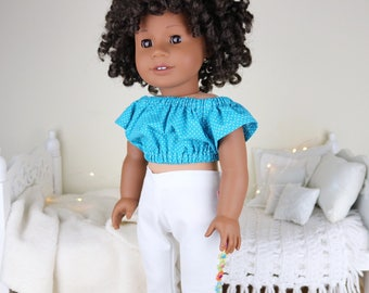 18 inch doll floral embroidered jeans & peasant blouse | white jeans | turquoise crop top