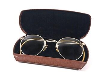 Vintage American Optical Ful Vue 12k Gold Metal Wire Rim Eyeglass Frames with Case