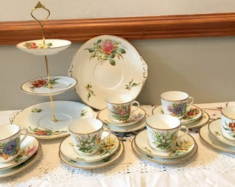 Vintage unusual & fabulous teaset includes 3 tier cake stand