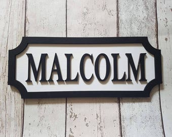 Personalised Street Sign - Name Plaque - Streetsign - Nursery Decor - Room Decor - Personalised Sign / Plaque - Custom Colours