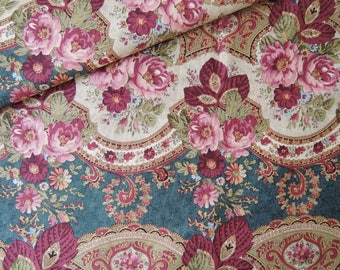 "Last 21"" x 44"" of Rococo Victorian Roses Fabric on Denim Blue Background by David Textiles."