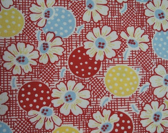"Fat Quarter  of Moda Fresh Air by American Jane Patterns Sandy Klop Polka Dots Daisies in Red. Approx. 18"" x 22"" Printed In Japan"