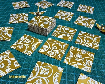 """200 Sheets Gold-white Colored 1.5""""x1.5"""" Snowflake 4 Leaf Clover Paper Folding Kit for Origami Cranes """"Tsuru"""". (WR paper series). #FC15-51s."""