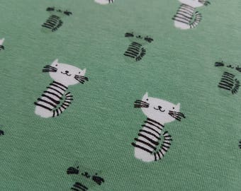 White Cats on Green - Organic Cotton Lycra Jersey, Knit Fabric stretch fabric, knit fabric, childrens fabric, fabric by the yard