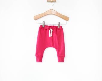 baby girl harem pants, pink baby leggings, sarouel pants, toddler harem pants, modern baby clothes, newborn girl harems, baby shower gift