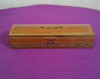 Vintage Wooden Inlay Box, Syrian or Moroccan Marquetry