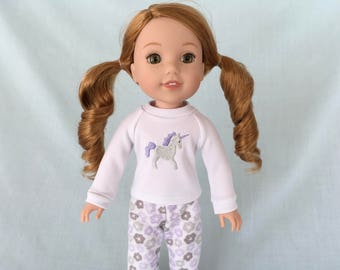 Unicorn Pajamas for Wellie Wisher/14.5 Inch Doll