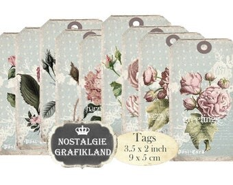 printable Gift Tags Flowers Shabby Chic Roses Paper Craft Decoupage Scrapbooking Instant Download digital collage sheet T121