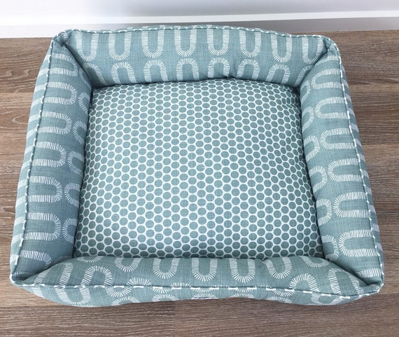 SMALL Lounger Dog Bed  - 'Winston' design in Pale Green waterbury print
