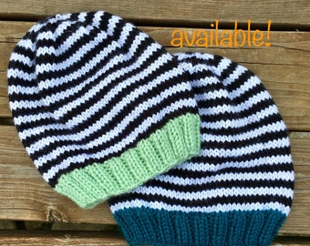 Knit, striped baby hat, size: newborn - 3 months