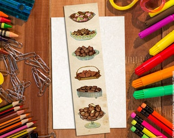 Vintage bookmarks. Chocolate bookmark #1. Paper bookmark. Shabby chic bookmarks. Food bookmark. Book lover gift. Food art print. Vintage art
