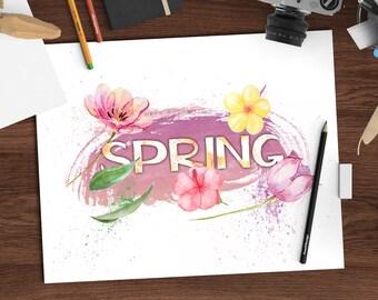 Watercolor seasons decor, Spring watercolor print, 8x10 printable art download, seasonal art, digital watercolor print, jpeg + png
