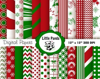 80% OFF SALE Christmas Digital Scrapbooking Papers  24 jpg files 12 x 12 - Instant Download - D148