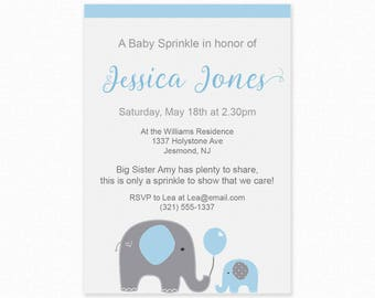 Blue Elephant Baby Sprinkle Invitations - Blue Baby Sprinkle, Printable Invitation, Blue Elephant Baby Sprinkle Invites, Elephant Invitation
