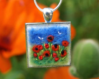 Poppy necklace, silver necklace, birthday gift, mothers day gift, poppy meadow, red poppy pendant, garden lover gift, custom colours