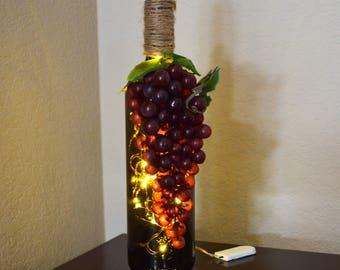 Tuscan Style Green Glass Wine Bottle Fairy Light Accent Table Lamp | Wine Bottle Light