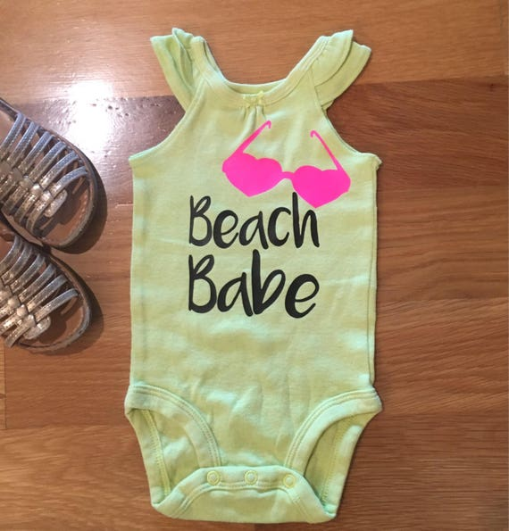 beach babe onesie, baby summer clothes, baby girl ruffle tank top, pink yellow black graphic baby T, baby girl summer clothes sale