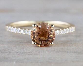1.23 carat Natural Unheated Sapphire and Diamond Engagement Ring Solitaire 14k Yellow Gold