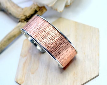 New collection Bangle open rhodium, printed leather