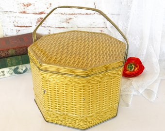 Antique Woven Basket tin Litho Box w/ handle, Loose Wiles Octagon, Sewing Lunch, storage container, advertising, kitchen, decor,
