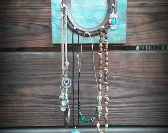 Aqua Horseshoe Jewelry & Key Organizer Rack