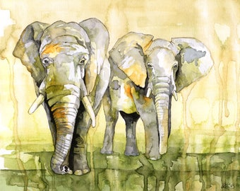 """Watercolor Painting, Elephant Painting, Elephant Print, Elephant Decor, Elephant Nursery, Watercolor Print, Print Titled """"Savannah March"""""""