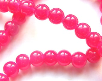 x 20 6 mm fuchsia glass round beads