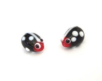 lampwork black Ladybug with white dots glass beads x 2