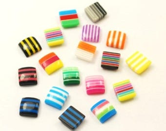 20 striped multicolored square cabochons 8mm resin, resin embellishment