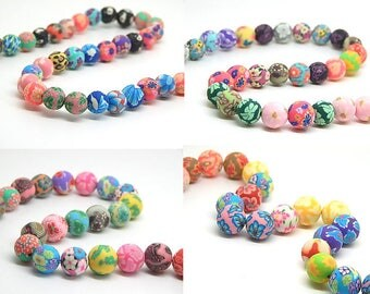 10 beads round flower motifs //pate 8,10,12,14mm //perles fimo polymer clay