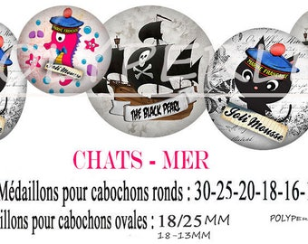 Images digital digital glass jewelry - sea - pirate cat cabochons.