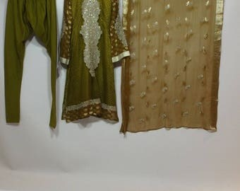 Ladies Long golden chiffon dress, pants and shal pakistan 3 pc suit  size S