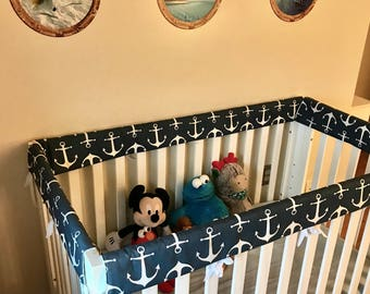Crib Rail Teething Guards - Navy & White Anchors - Set of 4