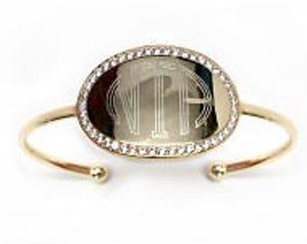 Monogrammed Bracelet, Engraved CZ Bracelet, Cuff Bracelet