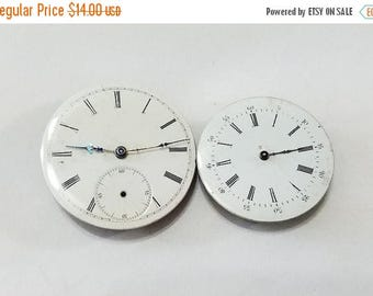ON SALE Antique Pocket Watch Movement, Lot, Pair, Gilt, Swiss, Dial, 3 Finger Bridge, Steampunk, Altered Art, Jewelry, Beading, Supplies, Su