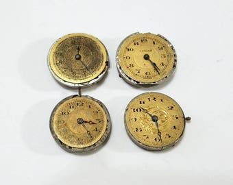 Vintage, Pocket Watch, Dial, Gold, Lot, Steampunk, Altered Art, Assemblage, Jewelry, Beading, Supply, Supplies