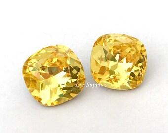 4470 LIGHT TOPAZ 12mm Swarovski Crystal Fancy Stone Cushion Cut, Yellow Citrine November Birthstone