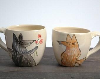 Wolf pottery mug, ceramic mug, fox mug, Wheel Thrown Mug