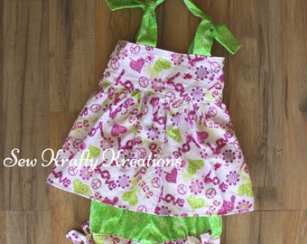 Girl's 2 Piece Set - White with Pink/Green Flowers and Green Cotton Shorts - Adjustable Tie Shoulders