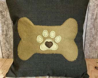 Hearts, bonio and paws - mustard yellow, brown and grey textured fabric, paw print cushion