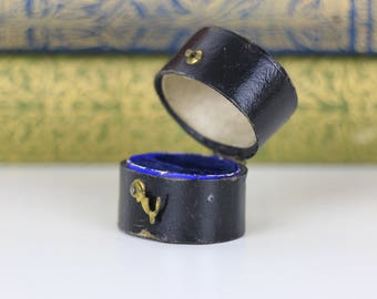Ring Box Burgondy with Gold Clasp and blue interior- Antique