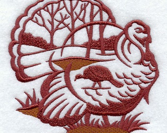 embroidered Hand towel -  Wild Turkey Silhouette Scene - many colors available