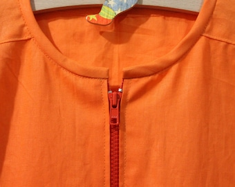 """Cotton apron """"Balocco ZIP""""-asylum school painting and other activities-Waldorf-Montessori-for children and adults"""