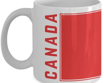 Canada Flag | Coffee Tea Mug | Canadian Pride | White | Ceramic | 11 oz | 15 oz | Canadian Flag Coffee Mug